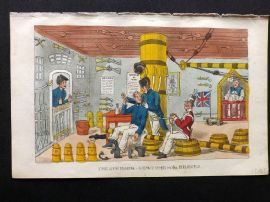 Rowlandson Johnny Newcome 1823 HCol Naval Satire Print. The Gunroom - Newcome in the Bilboes